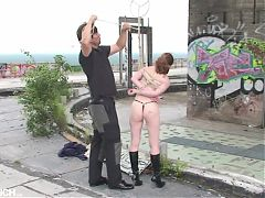 Public Bondage Session with naked hot girl with small tits