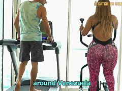 Venegula bigbooty gold digger fucked after workout