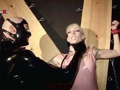 Short haired slave gets pissed in the face