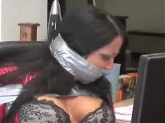 Gina Rae Michaels Duct Taped Wrapped Gagged in Chair